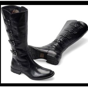 Born Leather Buckle Riding Military Boots Cuatros